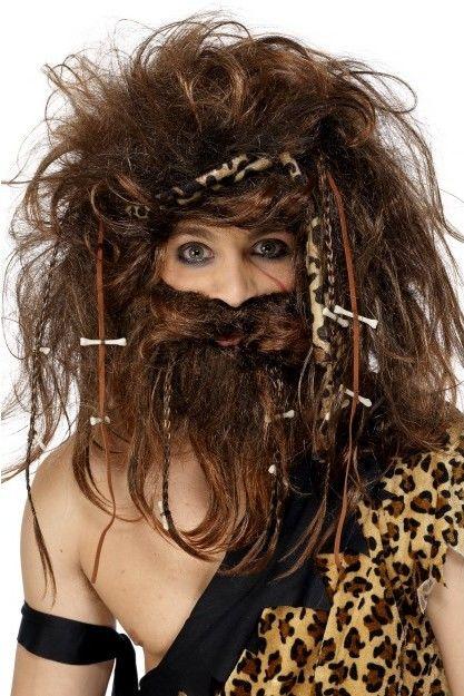 Pánská paruka a vousy pravěký muž (caveman)