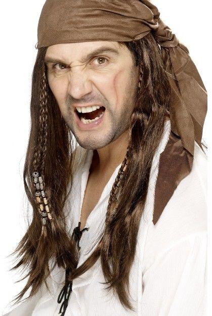 Pánská paruka Pirát bukanýr hnědá s copánky a šátkem