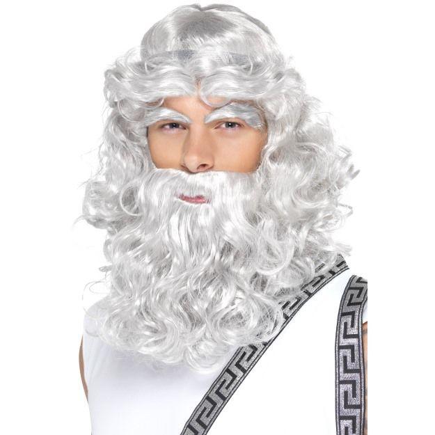 Pánská paruka Zeus s vousy a obočím