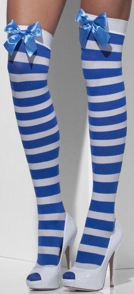Punčochy pruhované bílá a modrá s modrou mašlí