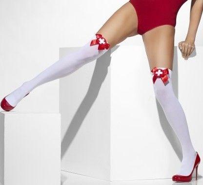 Punčochy sestřička bílé s červenou mašlí
