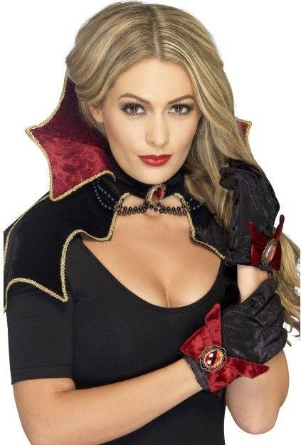 Dámská sada vampír (mini plášť s límcem, rukavice)