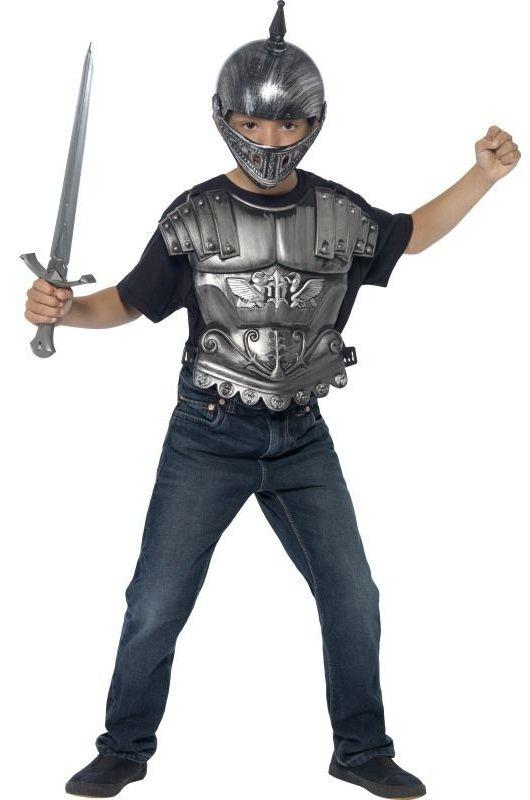 Dětská sada Rytíř, stříbrná (helma, meč, přední díl brnění)
