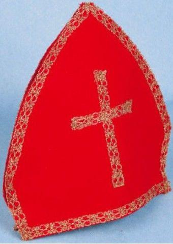 Mikulášská čepice deluxe , červená se zlatým křížem