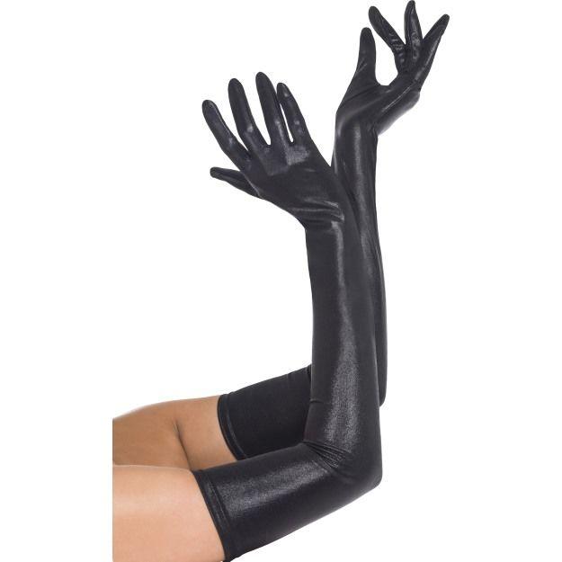 Rukavice černé - dlouhé,lesklé