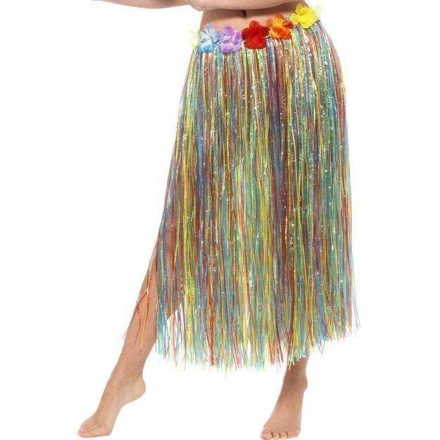 Havajská sukně duhová s květinami