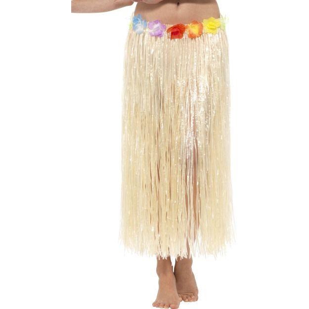 Havajská sukně přírodní s květinami