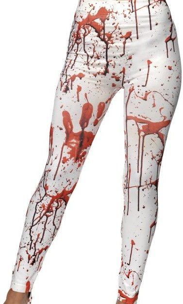 Hororové legíny - bílé s krví