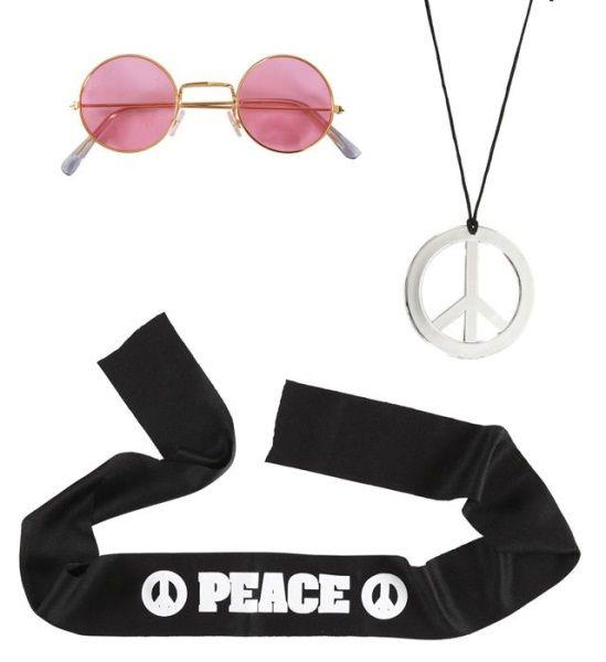 Sada hippies (čelenka, náhrdelník, brýle)