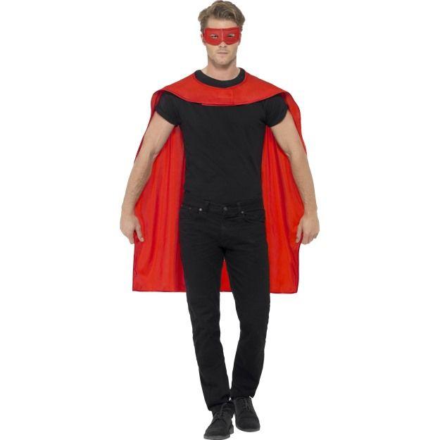 Červený plášť a maska na oči