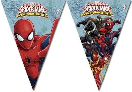Girlanda praporky Spiderman - délka 2,3m - 9 praporků.