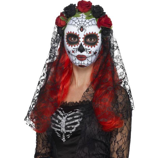 Maska Seňorita Den mrtvých s růžemi a závojem