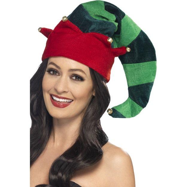 Plyšová čepice elf s rolničkami