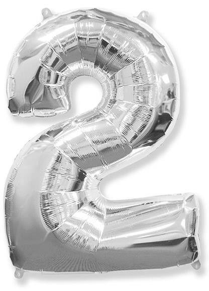 Fóliový balónek číslice 2 stříbrný 85cm