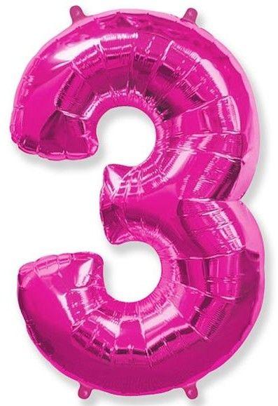 Fóliový balónek číslice 3 růžový 85cm