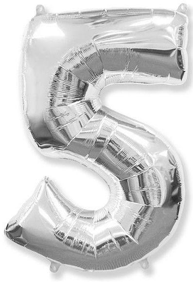 Fóliový balónek číslice 5 stříbrný 85cm