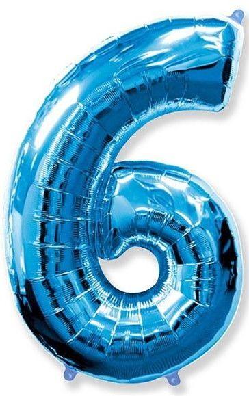 Fóliový balónek číslice 6 modrý 85cm