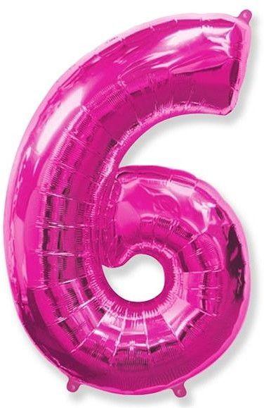 Fóliový balónek číslice 6 růžový 85cm