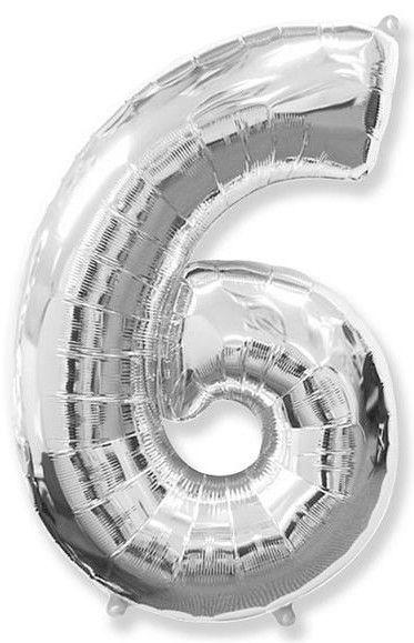 Fóliový balónek číslice 6 stříbrný 85cm