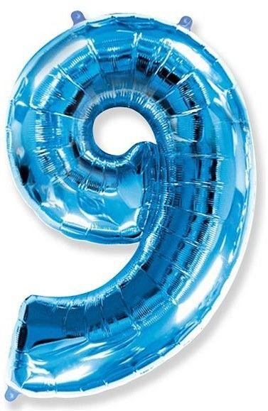 Fóliový balónek číslice 9 modrý 85cm