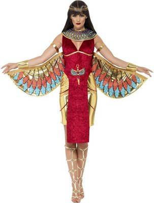 Egyptian Goddess Costume, Red, with Dress, Wings, Collar & Headpiece